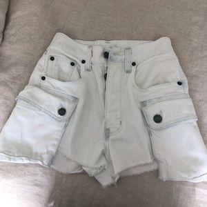 LF Carmar white denim cargo shorts